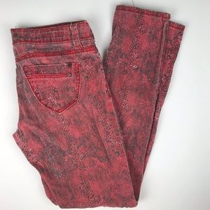 Hot Kiss Skinny Lily red snakeskin Jeans